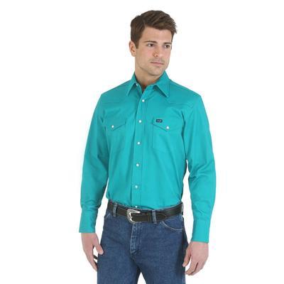 Wrangler Men's Advance Comfort Cowboy Cut Turquoise Work Shirt