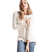 Rag Poets Women's Gretchen Open Knit Sleeve Sweater