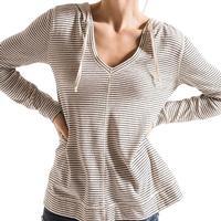Rag Poets Women's Torrice Striped Hooded Pullover Top