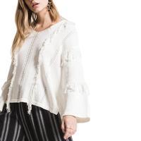 White Crow Women's Oxbox Fringe Sweater
