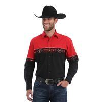 Wangler Men's Checotah Western Snap Horizontal Print Shirt