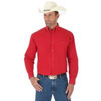 Wrangler Men's Solid Red George Strait Shirt