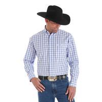 Wrangler Men's Blue and White Plaid George Strait Button Shirt
