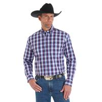 Wrangler Men's Red and Blue Ombre Plaid George Strait Shirt