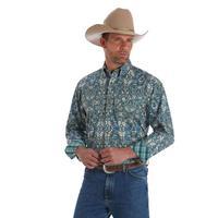 Wrangler Men's Green Paisley Print George Strait Shirt