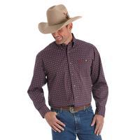Wrangler Men's Wine Printed George Strait Shirt