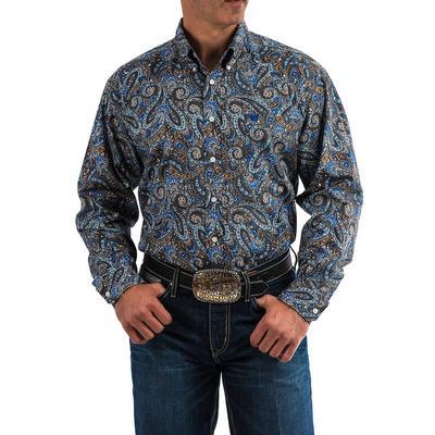 Cinch Men's Brown And Blue Paisley Print Shirt