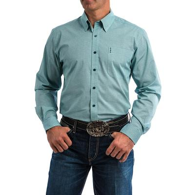 Cinch Men's Turquoise And Teal Tonal Print Button Shirt