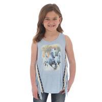 Wrangler Girl's Horse Print Fringe Tank Top