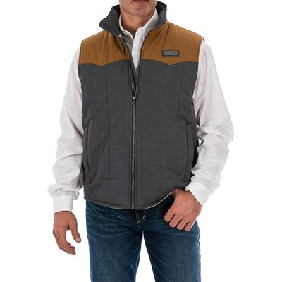 Cinch Men's Brown And Gray Wax Coated Quilted Vest