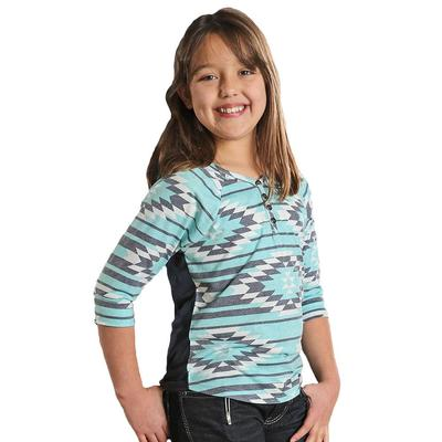 Cruel Girl Girl's Turquoise Printed Henley Top