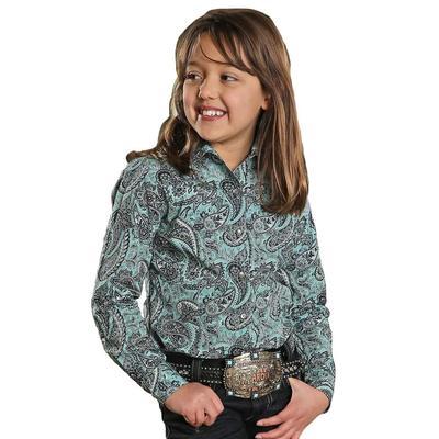 Cruel Girl Girl's Turquoise And Navy Paisley Print Shirt