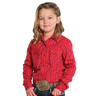 Cruel Girl Girl's Red Southwest Stripe Print Shirt