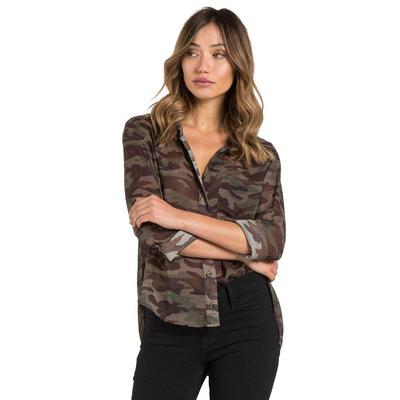 Bella Dahl Women's Camo Round Hem Button Down Shirt