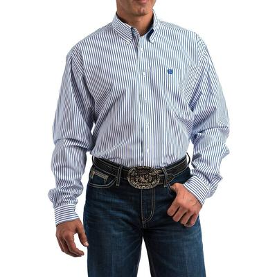 Cinch Men's Long Sleeve Blue And White Striped Shirt