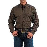 Cinch Men's Long Sleeve Navy and Brown Houndstooth Shirt