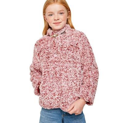 Hayden Girl's Fleece Pullover Sweater PLUM