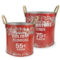 Mud Pie's Red Tin Holiday Bucket Set