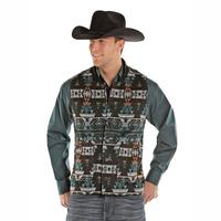 Powder River Outfitters Men's Aztec Jacquard Wool Idaho Liner Vest