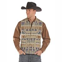 Powder River Outfitters Men's Tan Aztec Jacquard Wool Idaho Liner Vest