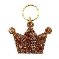 Lucky Feather's Gold Glitter Crown Keychain