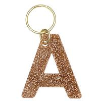 Lucky Feather's Gold Glitter Letter A Keychain
