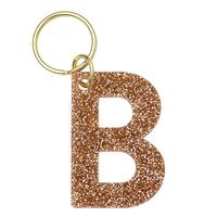 Lucky Feather's Gold Glitter Letter B Keychain