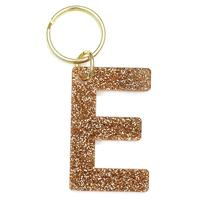 Lucky Feather's Gold Glitter Letter E Keychain