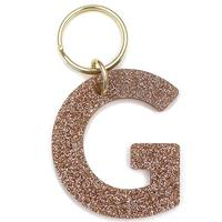 Lucky Feather's Gold Glitter Letter G Keychain