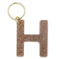 Lucky Feather's Gold Glitter Letter H Keychain