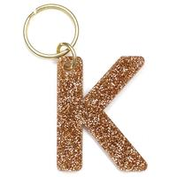 Lucky Feather's Gold Glitter Letter K Keychain