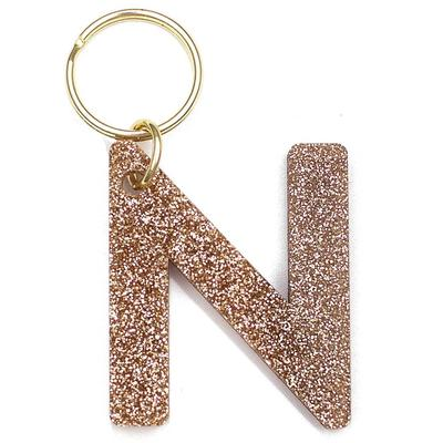 Lucky Feather's Gold Glitter Letter N Keychain