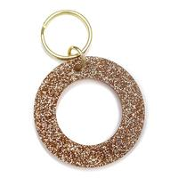 Lucky Feather's Gold Glitter Letter O Keychain