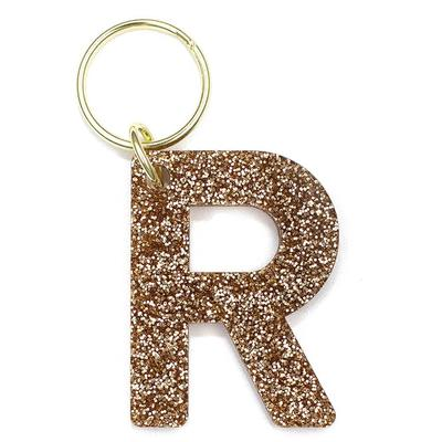 Lucky Feather's Gold Glitter Letter R Keychain