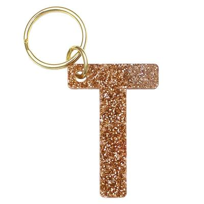 Lucky Feather's Gold Glitter Letter T Keychain