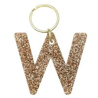 Lucky Feather's Gold Glitter Letter W Keychain
