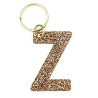 Lucky Feather's Gold Glitter Letter Z Keychain