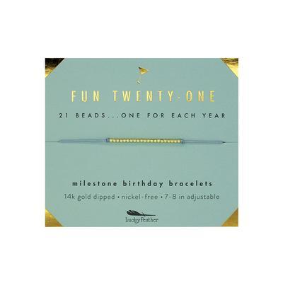 Lucky Feather's Fun Twenty-One Birthday Milestone Bracelet