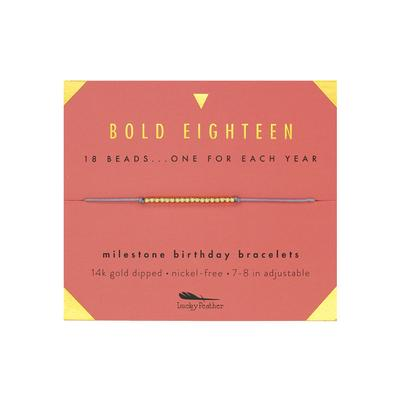 Lucky Feather's Bold Eighteen Birthday Milestone Bracelet