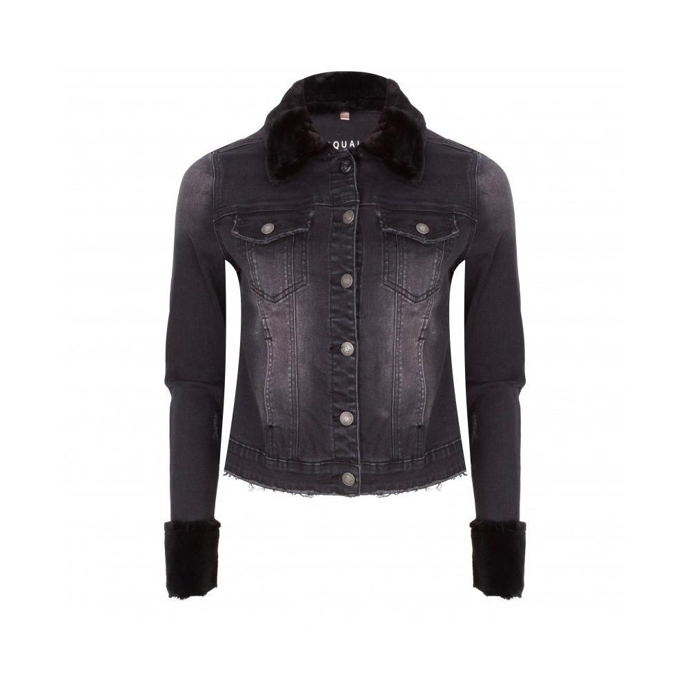 Esqualo Women S Faux Fur Jean Jacket