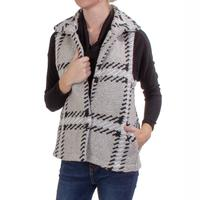 Dylan Women's Oatmeal Plaid Cozy Vest