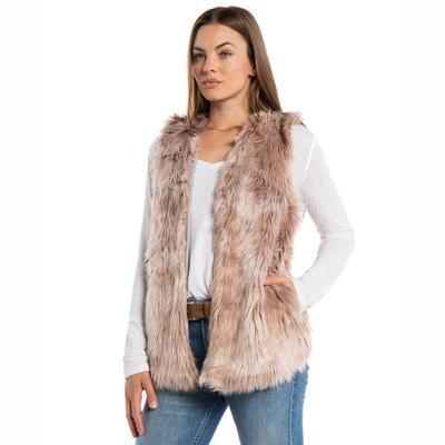 Dylan Women's Melange Fur Vest PINK