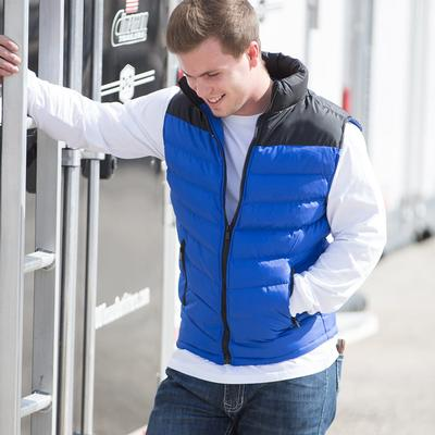 Men's Blue and Black Puffer Vest