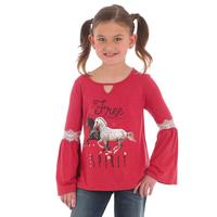 Wrangler Girl's Peasant Bell Sleeve Graphic T-Shirt