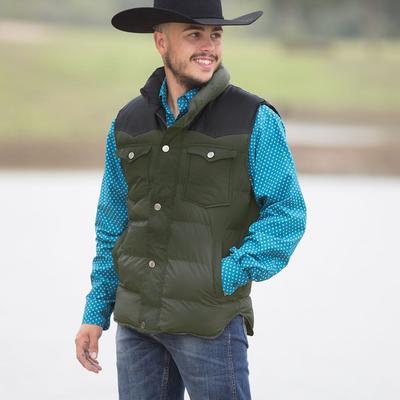 Men's Olive Puffer Vest