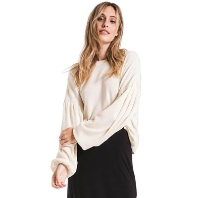 Z Supply Women's Gathered Sleeve Waffle Top