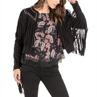 Miss Me Women's Studded Fringe Jacket