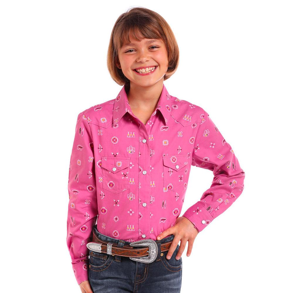 cccd840b8 Panhandle Girl's Aztec Pattern Pearl Snap Shirt