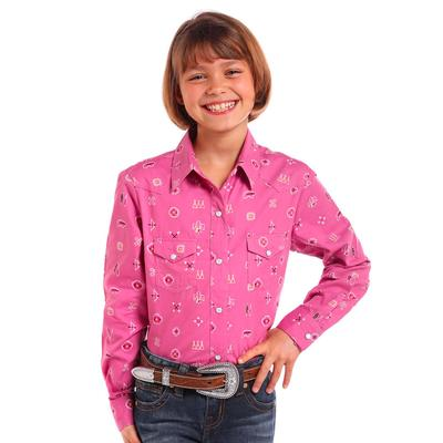 Panhandle Girl's Aztec Pattern Pearl Snap Shirt
