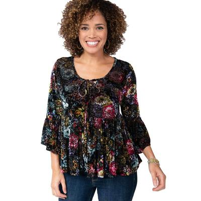 Ivy Jane Women's Floral V- Neck Bell Sleeve Shirt